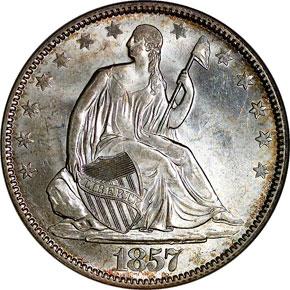 1857 50C MS obverse