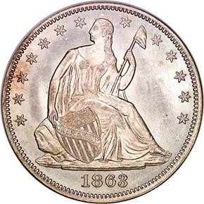 1863 50C MS obverse
