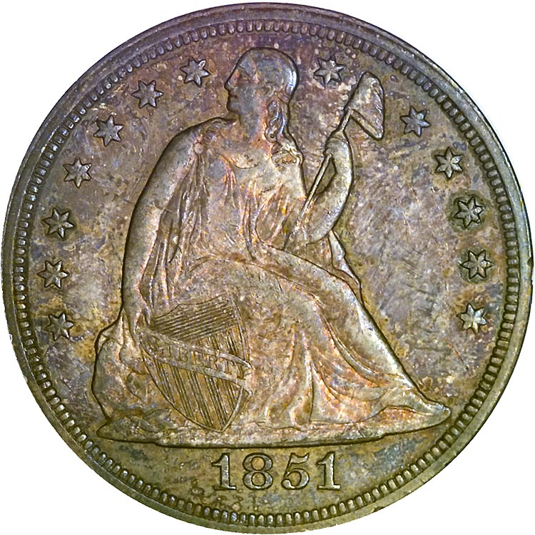 1851 S 1 Ms Seated Liberty Dollars Ngc