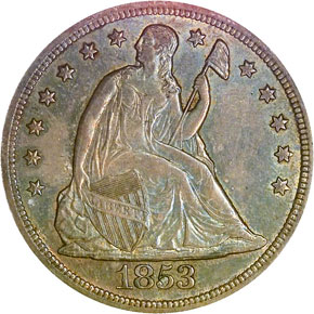 1853 S$1 MS obverse