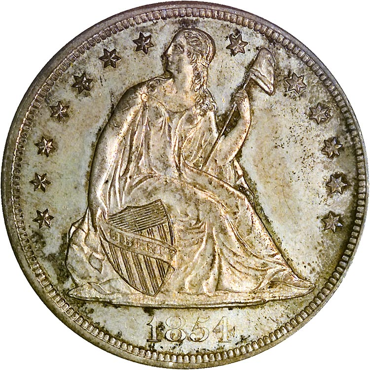 1854 1 Ms Seated Liberty Dollars Ngc