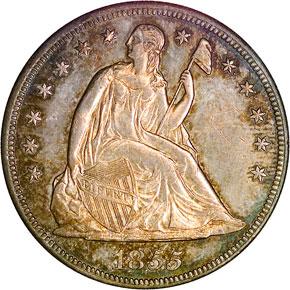 1855 S$1 MS obverse