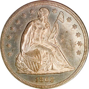 1862 S$1 MS obverse