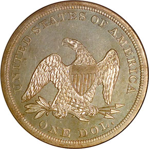 1863 S$1 MS reverse