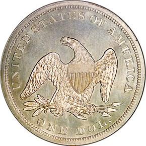 1864 $1 MS reverse