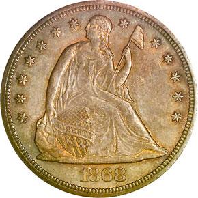 1868 S$1 MS obverse
