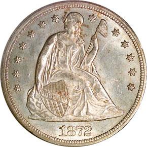 1872 S $1 MS obverse