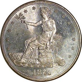 1874 CC T$1 MS obverse