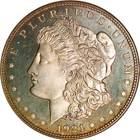 1921 MORGAN ZERBE S$1 PF obverse