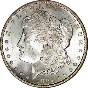 1891 S S$1 MS obverse