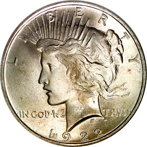 1922 $1 MS obverse