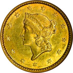 1850 G$1 MS obverse