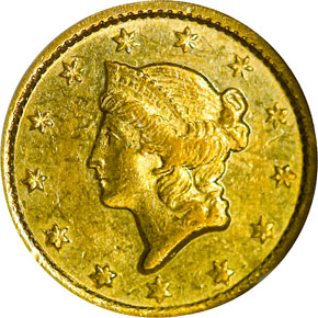 1852 C G$1 MS obverse