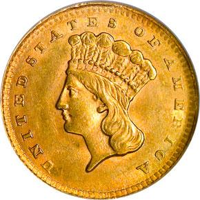 1856 UPRIGHT 5 G$1 MS obverse