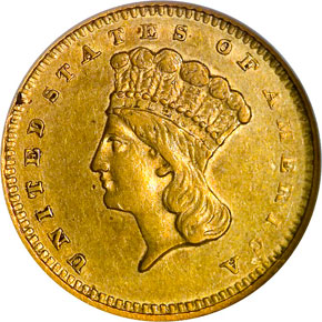 1858 S G$1 MS obverse