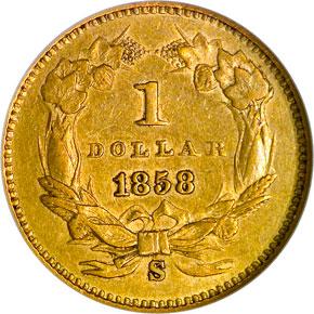 1858 S G$1 MS reverse