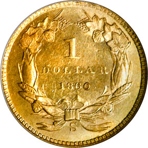 1860 S G$1 MS reverse