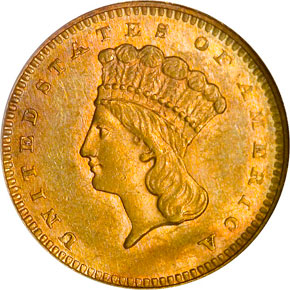 1864 G$1 MS obverse