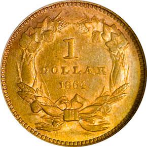 1864 G$1 MS reverse