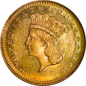 1866 G$1 MS obverse