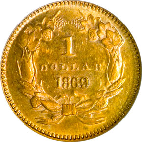 1869 G$1 MS reverse