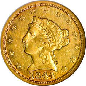 1844 $2.5 MS obverse