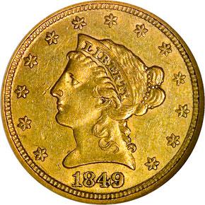 1849 $2.5 MS obverse