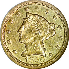 1850 O $2.5 MS obverse