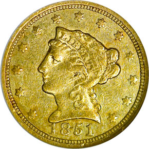 1851 C $2.5 MS obverse
