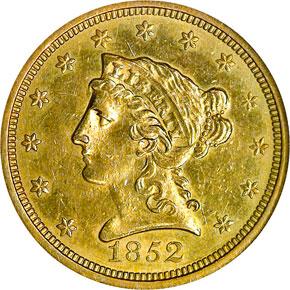 1852 O $2.5 MS obverse