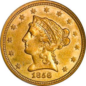 1856 $2.5 MS obverse