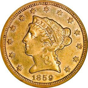 1859 S $2.5 MS obverse