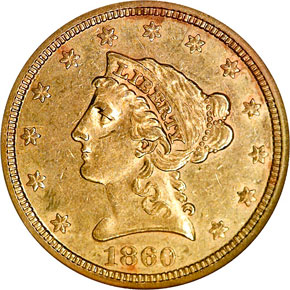 1860 $2.5 MS obverse