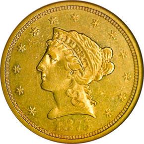 1875 S $2.5 MS obverse