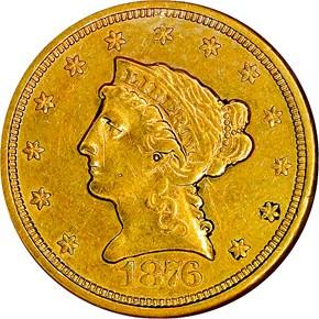 1876 S $2.5 MS obverse