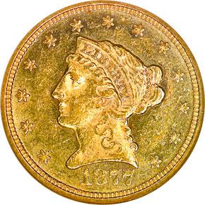 1877 $2.5 MS obverse