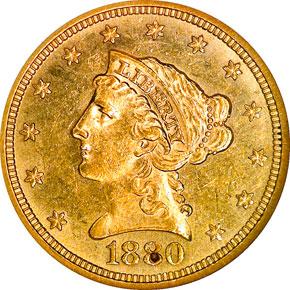 1880 $2.5 MS obverse