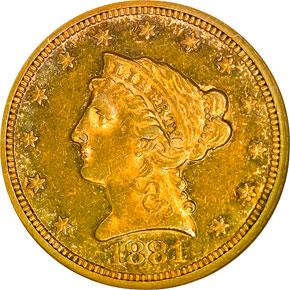 1881 $2.5 MS obverse