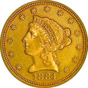 1884 $2.5 MS obverse
