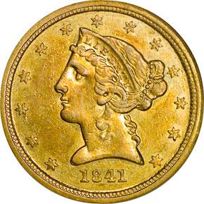 1841 C $5 MS obverse