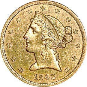 1842 SMALL LETTERS $5 MS obverse