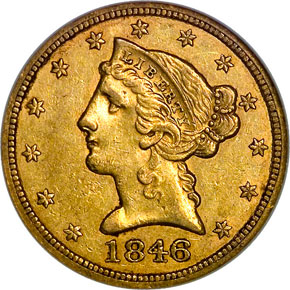 1846 LARGE DATE $5 MS obverse