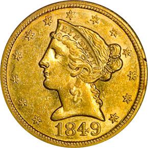 1849 $5 MS obverse