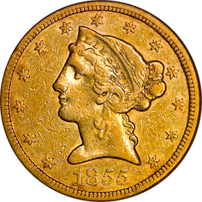 1855 $5 MS obverse