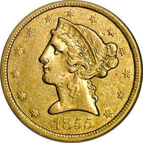 1855 O $5 MS obverse