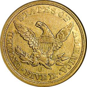 1855 O $5 MS reverse