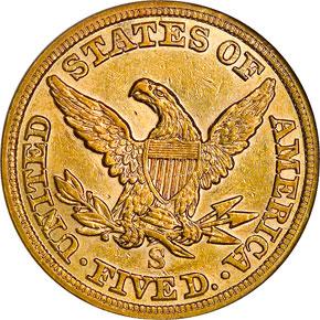 1855 S $5 MS reverse
