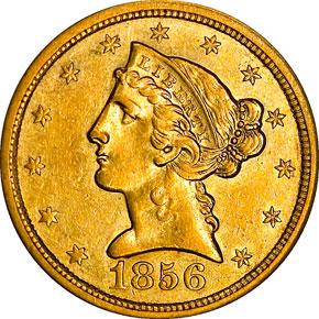1856 O $5 MS obverse