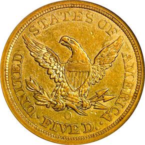1856 O $5 MS reverse