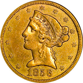 1856 S $5 MS obverse